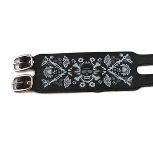 Jewelry - Vegan Leather Skull & Flames Cuff Bracelet Unisex